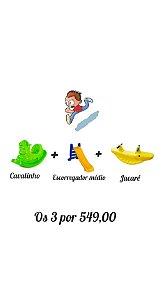 Kit Escorregador Médio + Gangorra Jacaré + Gangorra Cavalinho