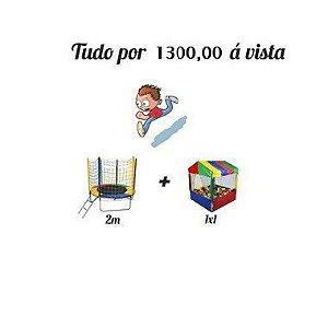 Kit Cama Elástica 2,00m + Casinha de Bolinhas 1x1M C/ 500 Bolinhas