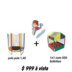 Kit Cama Elástica 1,40m + Piscina 1x1m Com 500 Bolinhas