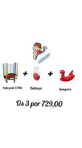 Kit Cama Elástica 1,40m + Balanço + Gangorra Minhoca