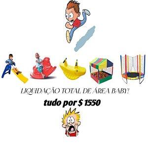 Kit Cama Elástica 1,40m + Piscina 1x1m Com 500 Bolinhas + Gangorra Jacaré + Gangorra Cavalinho + Escorregador Baby