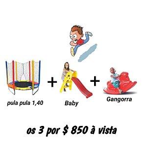 Kit Cama Elástica 1,40m + Gangorra Cavalinho + Escorregador Baby