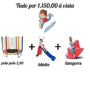 Kit Pula Pula 2m + Escorregador Médio + Gangorra Cavalinho