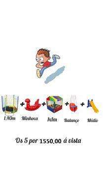 Kit Cama Elástica 1,40m+ Gangorra Minhoca + Balanço + Piscina 1x1m Com 500 Bolinhas + Escorregador Médio