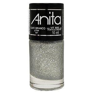 Esmalte Ouro Branco Gliter Anita 10ml