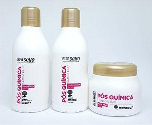 Tratamento Capilar Pós Química Semi-Dilino Soho Guenki com Shampoo 300ml, Condicionador 300ml e Máscara 250g