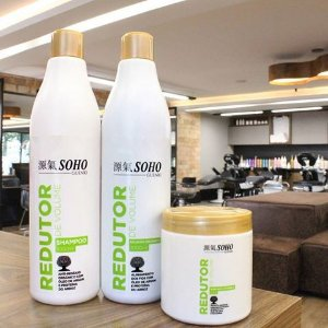 """Kit Redutor de Volume """"SEM FORMOL"""" Soho Guenki com Shampoo anti-resíduo, bálsamo orgânico e máscara catiônica"""