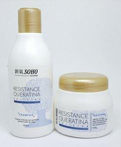 Kit Resistence Queratina Sericina Soho Guenki, Shampoo 300ml e Máscara 250g