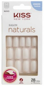 Unhas Naturais Kiss Salon Naturals KSN02BR Quadrado Médio