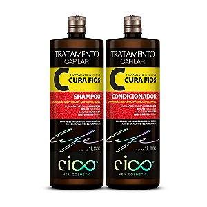 Kit Eico Life Cura Fios com Shampoo e Condicionador de 1L.