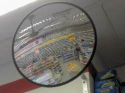 Espelho Convexo 300mm - acabamento em borracha - vidro antiestilhaçante