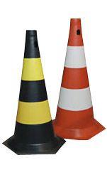 Cone PVC Rígido com faixas não refletivas (Laranja/branco)