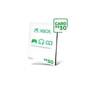 Cartão Xbox Live Brasil R$ 30 reais