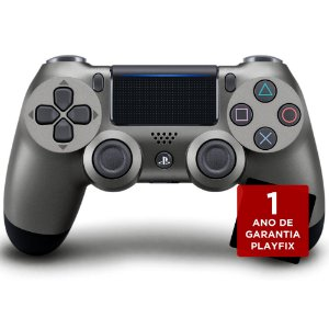 Controle Sony Dualshock 4 Steel Black sem fio (Com led frontal) - PS4