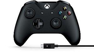 Controle Microsoft Preto + Cabo para Windows - Xbox One S
