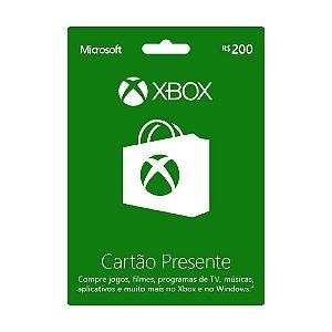 Cartão Pré Pago Xbox Live Brasil R$ 200 reais