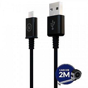 Cabo Micro USB Para Celular e Tablet 2M Preto - iWill