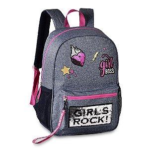 Mochila Juvenil Clio Jeans Girls Rock - Rosa