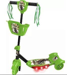 Patinete Dm Toys Dinossauro com cesta