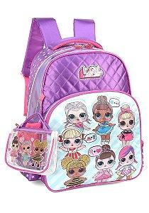 Mochila Escolar Luxcel Lol Surprise com Bolsa de mão transparente IS34611LO Roxa