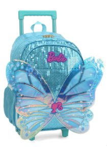 Mochila Escolar Luxcel Barbie Paetê Com Asas e  Rodinhas  IC34452BB01 - Azul