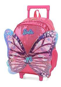Mochila Escolar Luxcel Barbie Paetê Com Asas e  Rodinha Rosa