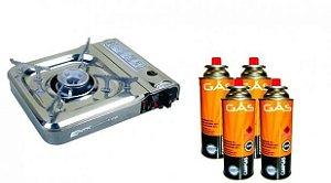 Kit Fogareiro Cheff + 4 Cartuchos de Gás Campgás 4 Unidades