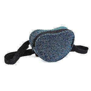 Pochete Denlex Linha Just Glitter formato Coração PH0731 Azul