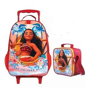 Kit Mochila infantil Escolar Rodinhas + lancheira Moana  Dermiwil 37419 - 37417