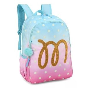 Mochila Up4You Maisa Patch com Glitter e Chaveiro Pompom Azul MJ48653UP