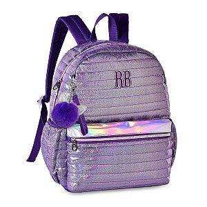 Mochila Rebecca Bonbon Costas Holográfica Glitter RB2064 Lilás