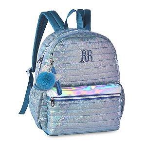 Mochila Rebecca Bonbon Costas Holográfica Glitter RB2064 Azul
