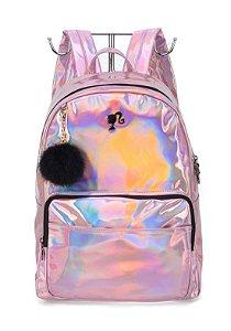 Mochila Luxcel Holografica Barbie Rosa MS45822BB