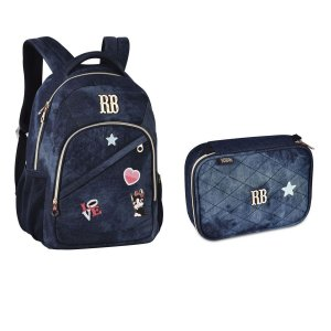 Kit Escolar Rebecca Bonbon Mochila RB2055 + Estojo RB2056 - Jeans Escuro