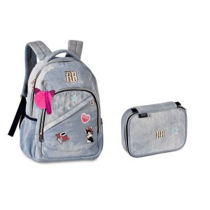 Kit Escolar Rebecca Bonbon Mochila RB2055 + Estojo RB2056 - Jeans Claro