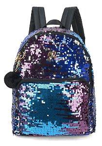 Mochila Escolar Luxcel Barbie Paetê Com Pompom  MS45824BB Preta