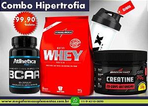 Combo Hipertrofia Muscular - Whey 907g + BCAA 60 caps + Creatina 20 doses - Grátis Coqueteleira