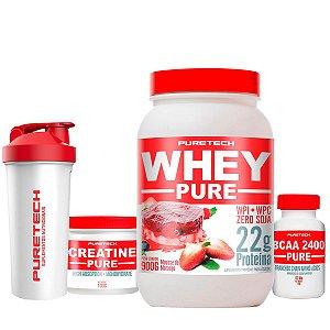 Combo Puretech - Whey Protein - BCAA - Creatina - Grátis Coqueteleira