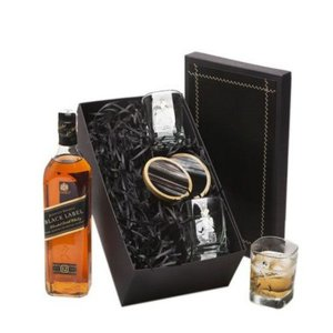 Whisky Johnnie Walker Black Label 1Litro  com Copos e Porta Copos