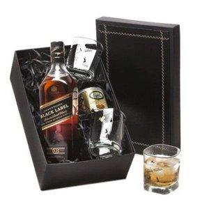 Kit Whisky Johnnie Walker Black Label 1 Litro com Copos e Castanhas