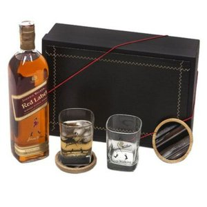 Whisky Red Label 1 Litro Johnnie Walker com Copos e Porta Copos