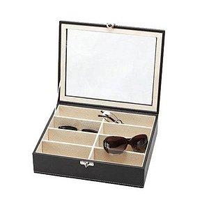 Caixa Para 08 Óculos Couro Visor em Vidro