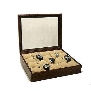 Porta Relógios Madeira para 20 Unidades Tampa Vidro