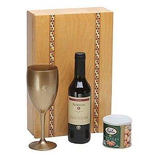 Kit Vinho Argentino Norton Reserva 375ml Caixa Madeira