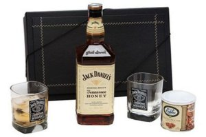 Kit Whisky Jack Daniels Honey 1 Litro com Copos e Castanhas
