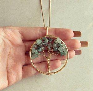 Colar Maxi Mandala Árvore da Vida Com Pedras Naturais Quartzo Verde Dourado