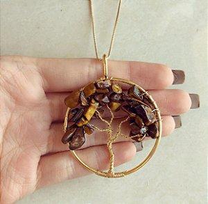 Colar Maxi Mandala Árvore da Vida com Pedras Naturais Olho de Tigre Dourado
