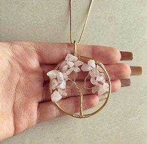 Colar Maxi Mandala Árvore da Vida com Pedras Naturais Quartzo Rosa Dourado
