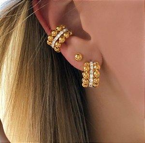 Piercing de Pressão Charmosa Bolinhas com Cristais Diamond Dourado