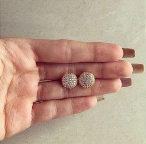 Brinco Bolinha Grande Cravação de Mil Micro Zircônias Diamond Dourado